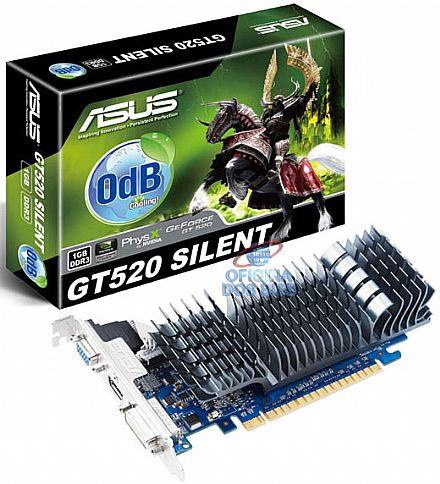 GeForce GT 520 1GB DDR3 64bits - Low Profile - OdB Cooling - PhysX - PCI-E - Asus ENGT520